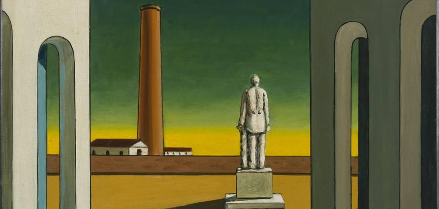 Giorgio de Chirico, Place d'Italie avec statue, ca 1965-1970, huile sur toile, 40 x 41,5 cm, Musée d'Art moderne de la Ville de Paris © Musée d'Art Moderne/Roger-Viollet © SABAM Belgium 2019
