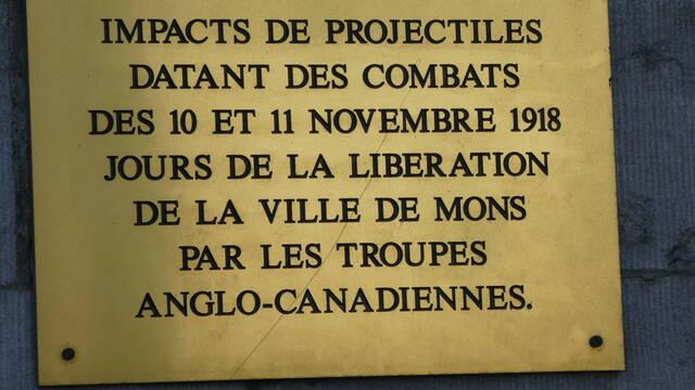 Répartition des forces canadiennes lors de la libération de Mons en novembre 1918